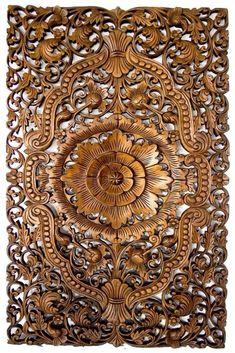 Amazing handmade wood carving panel made from very thick reclaimed Teak wood. The Oriental Lucky Lotus woodcarving art with its Oriental design adds a warm style and elegant touch to your home or office decor.