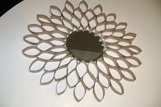 For Laura - Gretchen's sun  Starburst (Sunburst) Mirror using toilet paper rolls and a little dollar store mirror.