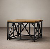 RH's Rivington Side Table:This collection of elegant structural tables pair geometric iron frames with the warmth of reclaimed oak planks.