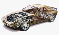 Porsche 928 Technical cutaway illustration