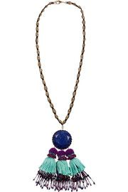 Tasseled gold-plated, lapis and crystal necklace