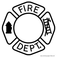 fire department logo color page - Firefighter Coloring Pages