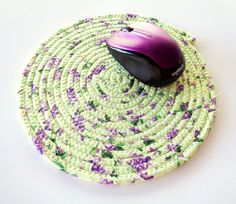 Pastel Green and Purple Coiled Fabric Trivet - Clothesline Trivet - Plant Coaster - Hot Pad - Mouse Pad - Candle Mat - Quiltsy Handmade by Jambearies on Etsy
