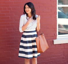 Stripes and polka dots (Corilynn Awning pleated skirt) via Kendi Everyday