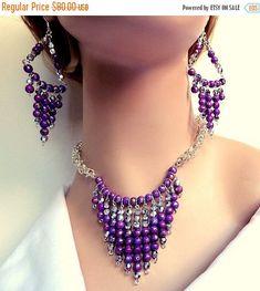 Chainmaille byzantine púrpura y plata juego collar y por NezDesigns