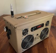 Ammo Can Rechargeable Stereo Boombox - Tan - Gadgets Truck Bed Liner Paint, Hp Laptop, Radios, Diy Boombox, Ammo Cans, Diy Tech, Diy Speakers, Filing System, Flashlight