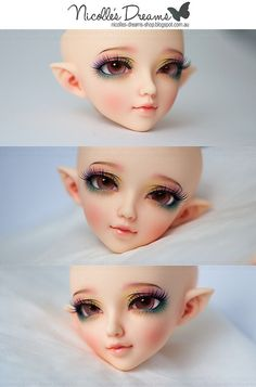 Andreja of Nicolle's Dreams does BREATHTAKING faceups (Australia based). It's incredibly hard to get a spot, and if you do it's pricey! $145 per head. But looking through her Flickr gallery...it's hard not to justify ;) [Photo is of an MNF Juri 2008 head. This pin goes to her Flickr. Here's her site: http://nicolles-dreams-shop.blogspot.com]