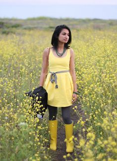 Yellow and gray and a girly dress (sans yellow rain boots)