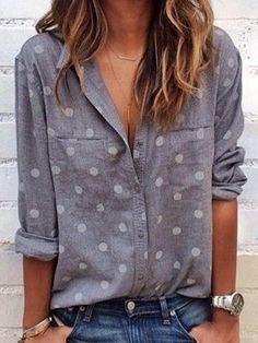 [£ PolkaDot Lapel Long Sleeves Button Up Casual Shirt Blouses - VeryVoga Shirts & Tops, Casual Shirts, Collar Shirts, Shirt Blouses, Long Sleeve Tops, Long Sleeve Shirts, Polka Dot Shirt, Polka Dots, Estilo Fashion