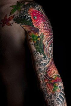 Koi fish tattoo sleeve. I love the water design