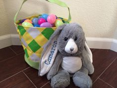 Easter basket and stuffed bunny with FREE by RagansCrazyCreations
