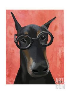 Doberman with Glasses Art Print by Fab Funky at Art.com