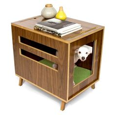 Modern dog bed and side table