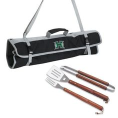 Hawaii Rainbow Warriors 3 Piece Wooden Handle BBQ Utensil Set with Tote by Picnic Time. $33.95. The NCAA Hawaii Rainbow Warriors 3-piece BBQ Tote by Picnic Time has the tools you need to prepare your barbecue feast all in one convenient fold and go carry tote. The 3-piece set comes in a durable black polyester carry tote with adjustable shoulder strap. All 3 tools have beautiful wood handles and are made of stainless steel with extra long handles to keep your hands away fro...