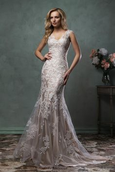 Maternity Wedding Dress 2016 Wedding Dresses By Amelia Sposa Vestidos Sleeveless V Neck Appliqued Lace Tulle Mermaid Bridal Gowns With Champagne Lining Custom Made Bride Gowns From Nicedressonline, $231.42| Dhgate.Com