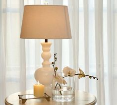 Bedside table decor...Gemma Milk-Glass Table Lamp | Pottery Barn @Laura Jayson Steele
