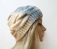 Chunky Acrylic Cabled Headband - Women Hand Knit Braided Headband - Cream Blue Grey Ear Warmer - Women Cabled Headband - Clickclackknits by Clickclackknits on Etsy