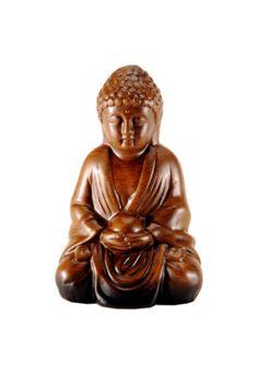 Buda Bianco e Nero Cerâmica Capo D'Angelo marrom, feito em cerâmica com  acabamento envelhecido. Mede 18,5x8,5x12cm (LxAxP).