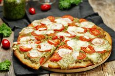 Vegetarian Micro-greens Pesto Pizza