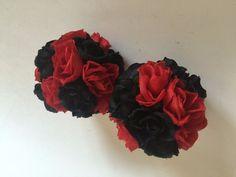 ELIXITA 2 pcs Decorative silk flowers kissing balls centerpiece black red decor #ELIXITA