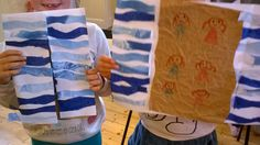 Parting of the Red Sea - Use A3 paper folded to the middle. - cut out waves from marbled paper or blue tissue, - stick waves to outside sheet then fold them over to the inside - stick brown crumpled paper to middle for the sea bed - draw Moses and the people crossing