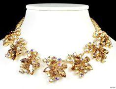 1960s D E Juliana Pale Amber Aurora Borealis Necklace Vintage Jewellery   eBay