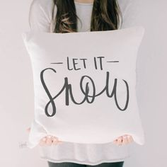 Etsy Throw Pillow - Let It Snow Calligraphy Christmas decor, calligraphy, home decor, Winter pillow, cush