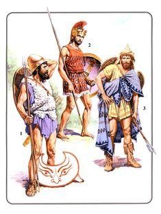 Peltasta griego, ekdromoi ateniense y peltasta tracio