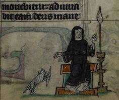 Detail of a miniature of a nun spinning thread, as her pet cat plays with the spindle; from the Maastricht Hours, the Netherlands (Liège), 1st quarter of the 14th century,