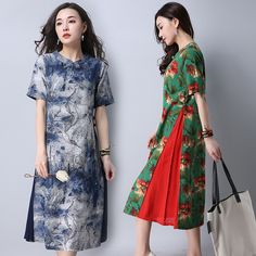 2017 new vintage clothing folk style cheongsam long short sleeved Printed Dress maxi vestidos mujer robe femme lace plus size