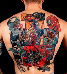 Spider-Man Vs. Venom Comic Book Full Back Tattoo