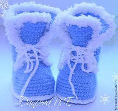 Детская обувь ручной работы. Ярмарка Мастеров - ручная работа Пинетки теплые,голубые сапожки. Handmade.