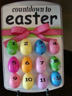 Count down to Easter! (like advent for Christmas). Number Easter eggs, place magnets on them and stick to a cookie sheet or do the resurrection eggs (ideas to read/place in eggs on the Resurrection post)