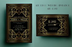 Ad: Art Deco Wedding Invitation and RSVP by annago on Elegant art deco inspired wedding invitation and rsvp card, that comes in 2 color variations, with and without gold texture on ornamental Art Deco Wedding Invitations, Printable Wedding Invitations, Wedding Stationery, Invites, Holiday Invitations, Printable Party, Invitation Cards, Party Invitations, Wedding Art