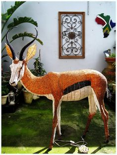 One of a kind life size bead and wire Springbok 2012. Sold - Jan 2013 to private client and now on it's way to Russia.