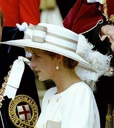 June 15, 1992: Princess Diana at The Garter Ceremony at Windsor Castle wearing a Philip Somerville hat.