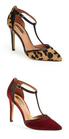 Burgundy or leopard print? Love these Halogen t-strap pumps!