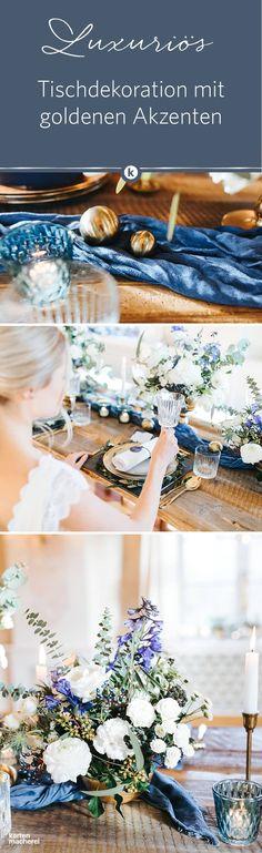 Blau, Gold und Weiß werden wundervoll bei der Tischdekoration mit Gold unterstrichen. Wählt Teller, Besteck und Kerzenhalter sowie kleine Deko-Elemente aus dem edlen Metall.