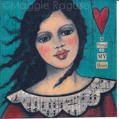Song In My Heart mounted PRINT of folk art angel painting by Maggie Raguse. $22.00, via Etsy.