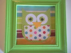 owl picture framed green teal baby room art by PolkaDotConfetti, $5.00