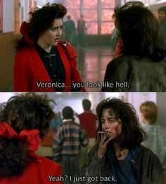 Heathers loved this movie! Winona Ryder and Christian Slater were two of my favorite actors. I liked Shannen Doherty too just not in this movie. 90s Movies, Good Movies, Movie Tv, Shannen Doherty, One Liner, Film Quotes, Old Movie Quotes, Romantic Movie Quotes, Stanley Kubrick