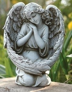 Guardian Angel Bird Feeder With Large Angel Wings - Garden Statue
