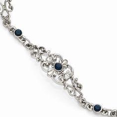 Silver-tone Downton Abbey Blue Crystal 7in Bracelet