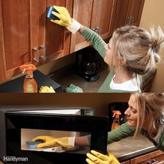 Cut Grease With a Hot Rag Grease and dirt build up on kitchen cabinets over time. To clean your cabinets, first heat a slightly damp sponge or cloth in the microwave for 20 to 30 seconds until it's hot. Put on a pair of rubber gloves, spray the cabinets with an all-purpose cleaner containing orange oil, then wipe off the cleaner with the hot sponge. For stubborn spots, let the cleaner sit for five minutes first. Wipe in the direction of the wood grain. Rinse and reheat the sponge as it…