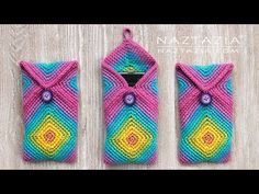 Here's a fun way to crochet a chromatic phone case for your cell. Start with two solid granny squares, turn them, and sew them together. Makes a nice gift! Crochet Phone Cover, Crochet Case, Crochet Hooks, Free Crochet, Single Crochet Stitch, Basic Crochet Stitches, Crochet Basics, Crochet Patterns, Crochet Circles