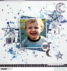 Layout by Renee Aslette. Baby Scrapbook, Scrapbook Albums, Scrapbook Paper, Scrapbook Sketches, Scrapbook Page Layouts, Scrapbook Designs, Photo Layouts, Scrapbooking Ideas, Love Moon