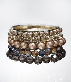 PEARL AND RHINESTONE STRETCH BRACELET SET at Express  #ExpressJeans