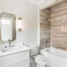 Drop In bathtub with Faux Wood Tiles