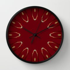 Dark plum red, wine red, light browns, deep brown & black pinned out in repeat pattern with red, cream & orange flashed abstract arch shape. Arch Echoes on Red Wall Clock