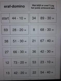 Rekendomino eraf-sommen tot 100. Een zelfcorrigerend spel. Te downloaden van digischool. Math Subtraction, Addition And Subtraction, Math Classroom, Maths, Teaching, Numbers, Stage, Kids, Mental Calculation